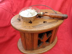 •Beautiful old Dutch stove, oak with yellow copper ashtray