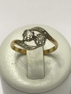 Vintage yellow gold and diamond Art Nouveau ring - No reserve price