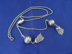 835 long silver necklace with spheres - 95 cm