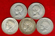 Spain – Set of five silver coins of five pesetas – Alfonso XIII (1890, 1891, 1892, 1896 and 1898) (5)