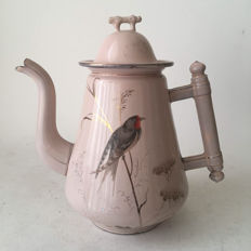 Rare French antique pink Art Nouveau coffee / chocolate pot decorated with a bird