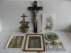 8 Devotional items - crucifix, brass holy water container, 2 frames, photo, metal sign, 5 View-master discs - wood, metal, brass, glass - Europe - second half 20th century