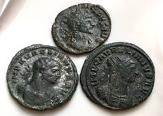 Roman Empire - Lot of three AE Antoniniani: Aurelian Aurelian Qvintillus