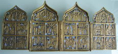 """Antique Russian Orthodox """"TRAVEL ALTAR"""" Holidays four-part 18th-19th century 38.6 x 16 (open) 10 x 16 cm (folded)"""
