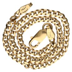 Yellow gold curb link bracelet, 18 kt Length: 19 cm