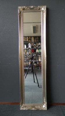 Very large full length mirror with facet cut glass - hand-gilded frame with ornaments - Silver