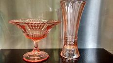 Art deco Brockwitz salmon pink coupe and Luxval salmon pink vase, straw model