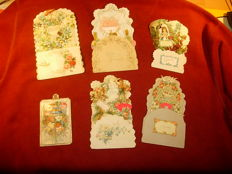 lot of 6 ancient pop-up postcards - 1900