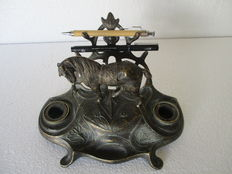 Art Nouveau Desk Set Dubbel Ink well Patined Bronze -France - 1930