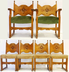 Lot consisting of Neo-Gothic oak sled leg chairs -   Netherlands - ca. 1930