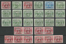 Netherlands 1940 – Number type 'Guilloche' including strips – NVPH 356/373 + 356a/d