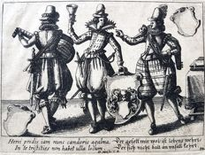 D.Meifn (16th or 17th century) - Three man Partying plus playing Guitar and holding Heraldic Family weapons - 16th or 17th century