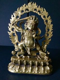 Representation of Mahākāla in patinated copper - Nepal - late 20th century.