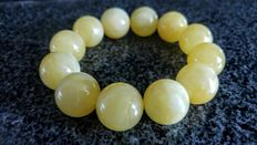 Baltic amber round beads bracelet, white, slightly yellow colour, No Reserve, 50 grams