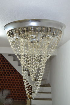 Space age celling lamp - metal alloy and crystal - USA 1950