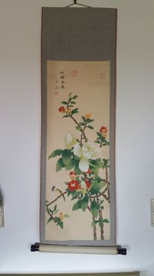 Splendid painted scroll - Chinese - Second half of 20th century.