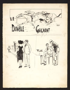 "Le Rallic - 3 original drawings on one page ""Le double gagnant"" (The double winner) - Le sourire - (circa 1910-1920)"