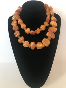 Antique Huge Baltic Amber necklace, 183 gr.