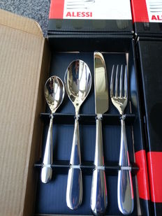 Ettore Sottsass for Alessi – Nuovo Milano cutlery, 6 place settings