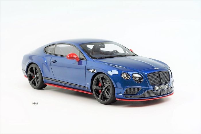 GT-Spirit - Scale 1/18 - Bentley Continental GT3-R 2015 Black Edition - Sequin Bue - Limited Edition 1 of 504 Pieces