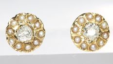 Victorian flower shaped diamond and pearl gold earrings