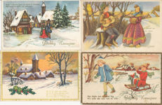 Lot of 200 postcards Happy New Year, Merry Christmas