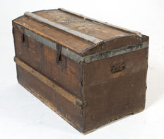 Old transport chest with mounts, first half 20th century