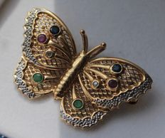 Yellow gold brooch/pendant with diamond, sapphire, ruby and emerald, size is 22 x 35 mm