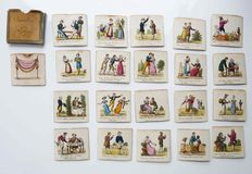 Collection of 20 miniatures: French proverbs in etching, coloured manually, end of 19th century