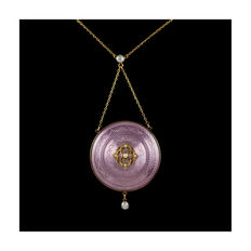 Antique Enamel  Picture Locket With Pearls