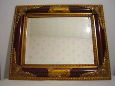 Mirror 57 cm in gilded wooden frame with baroque pattern