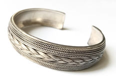 925 silver bangle with pattern - 57 mm