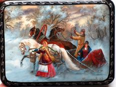 "Russian lacquer box -""Fedoskino"" – ""Matchmaking Party In Winter"""