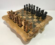 Spanish olive wood chess, handmade, mid-20th century