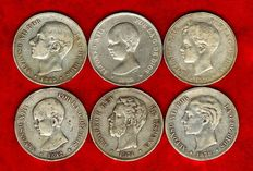 Spain – Set of 6 silver coins of 5 pesetas – Amadeo I (1871*71), Alfonso XII (1878 and 1885) and Alfonso XIII (1889 and 1892). (6).