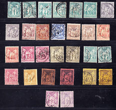 France 1876 – Type Sage N under B – Selection of 29 stamps from Yvert nos. 61 to 95