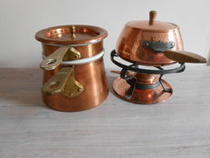 Au Bain Marie - copper and porcelain -VILLEDIEU - France, a red copper fondue set - PERK.
