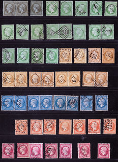 France 1862/1863 – Extensive colour study, a variety of cancellations on classics – Yvert no. 19 to 24