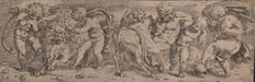 Paolo Farinati (1524 - 1606) - Frieze with a lion held by three putti and a drunken Silenus - Ca. 1565