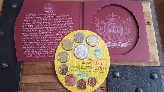 San Marino - 2007 Euro coin set, including 5 Euro - silver
