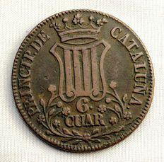 Spain – Isabel II – 6 cuartos copper coin – 1838 – Catalonia