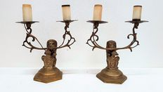 Beautiful bronze candlesticks/lamps - with Lions and Amsterdam coat of arms - Ca. 1910