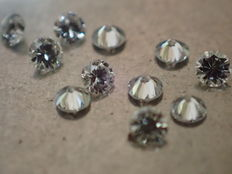 Lot of 11 diamonds 2.00mm brilliant cut, total weight 0.39ct, D/IF, The best