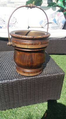 Ice bucket for champagne in wood and bronze