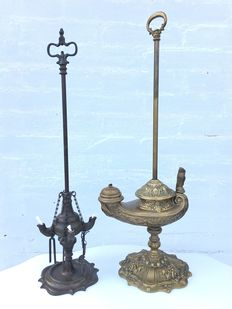 "Copper Aladdin lamp oil lamp and bronzed brass ""snotneus"" four burner oil lamp"