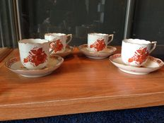 Four cups and saucers - Herend