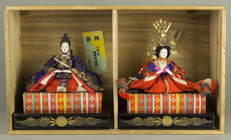 Imperial couple doll set in original box - Japan - 1912 - 1926 (Taishō period)