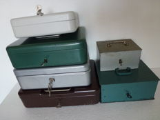 Five old petty cash box and a key chest including keys