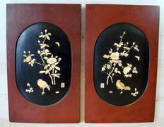 Set of two Chinese wood panels inlaid with bone