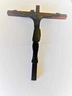 Lambert Rucki bronze Christ on wooden cross